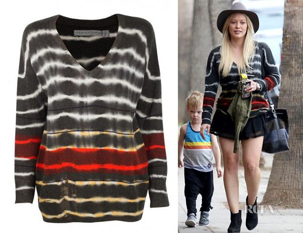 Hilary Duff's Raquel Allegra V Neck Cashmere Pullover