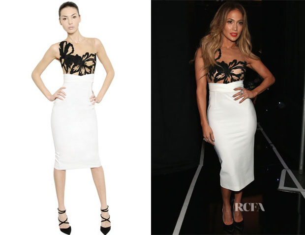 Jennifer Lopez' Zuhair Murad Floral Embroidery Tulle & Jersey Dress
