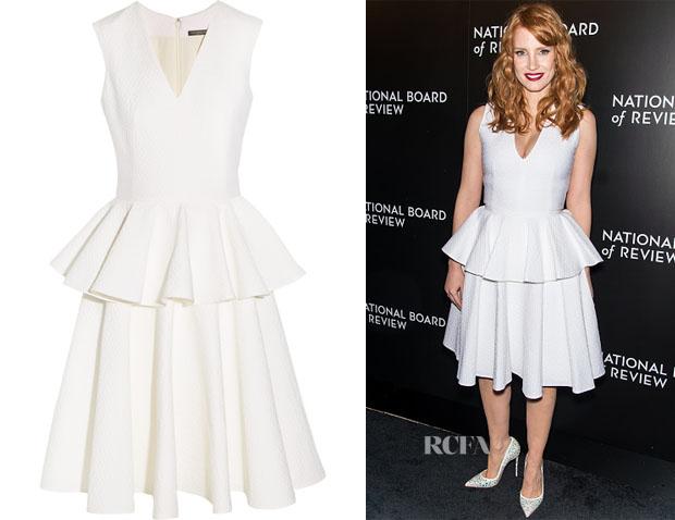 Jessica Chastain's Alexander McQueen Peplum Cloqué Dress
