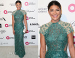 Jessica Szohr In Patricia Bonaldi -  Elton John's AIDS Foundation's Oscar Viewing Party