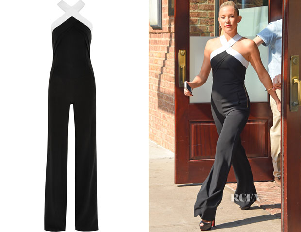 Kate Hudson's Roland Mouret Shotwick Two-Tone Stretch-Crepe Jumpsuit