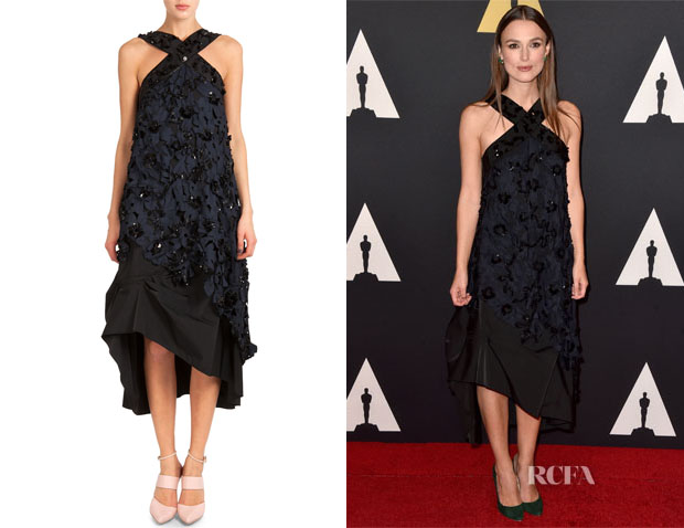 Keira Knightley's Nina Ricci Embellished Laser-Cut Midi Dress