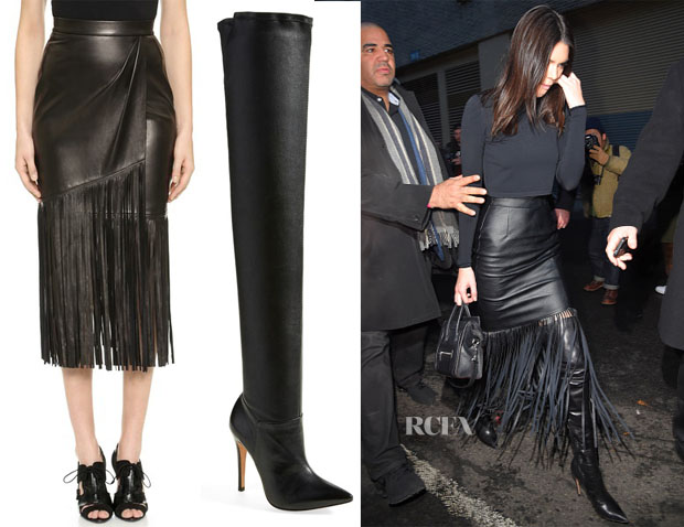 Kendall Jenner's Tamara Mellon Leather Fringe Skirt & Alice + Olivia Dae Over The Knee Boot
