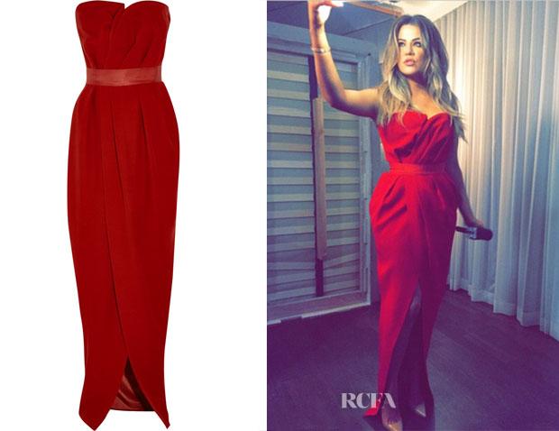 Khloe Kardashian's Lanvin Strapless wrap-effect silk-crepe gown
