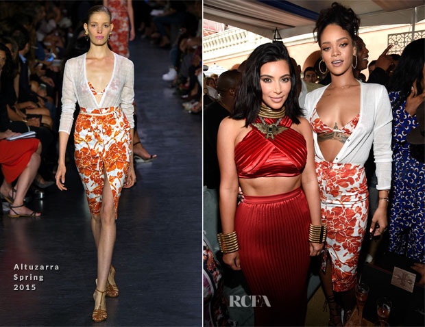 Kim Kardashian & Rihanna In Altuzarra - Roc Nation Pre-GRAMMY Brunch