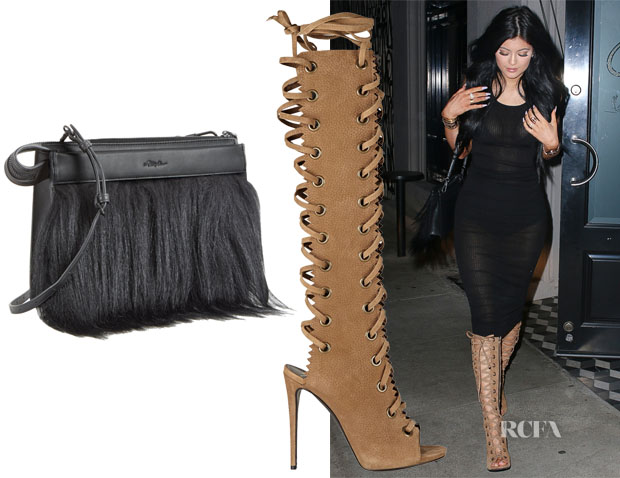 Kylie Jenner's 31 Phillip Lim Small East West Depeche Clutch & Giuseppe Zanotti Textured-suede knee boots