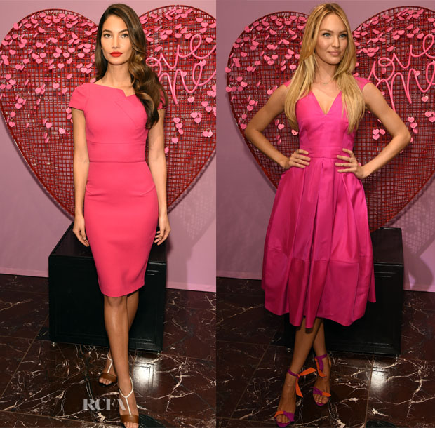 06b537f24ca Lily Aldridge In Roland Mouret   Candice Swanepoel In Antonio Berardi -  Victoria s Secret Angels Share