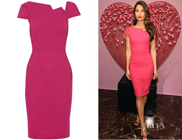 Lily Aldridge's Roland Mouret Lepas Wool-Crepe Dress