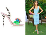 Lily Alridge's Sophia Webster Lilico Floral-Appliquéd Striped Leather Sandals