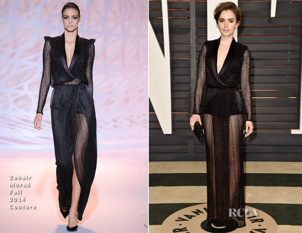 Lily Collins In Zuhair Murad Couture - 2015 Vanity Fair Oscar Party
