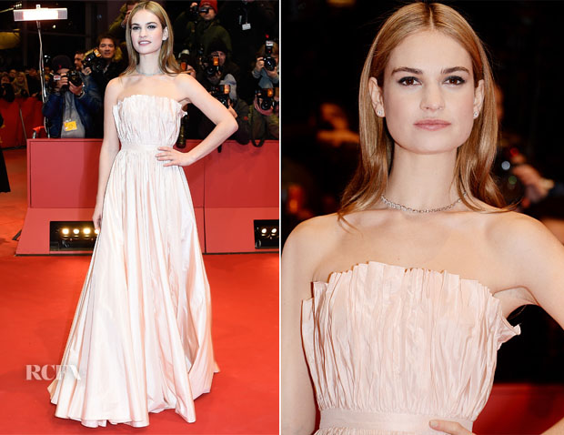 Lily James In Christian Dior - 'Cinderella' Berlin Film Festival Premiere
