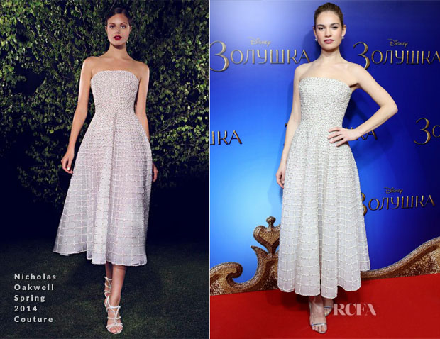 Lily James In Nicholas Oakwell Couture Cinderella Moscow Premiere