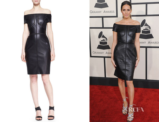 Louise Roe's J Mendel Off-Shoulder Leather Dress