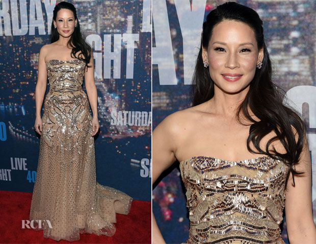 Lucy Liu In Zuhair Murad Couture - SNL 40th Anniversary Celebration