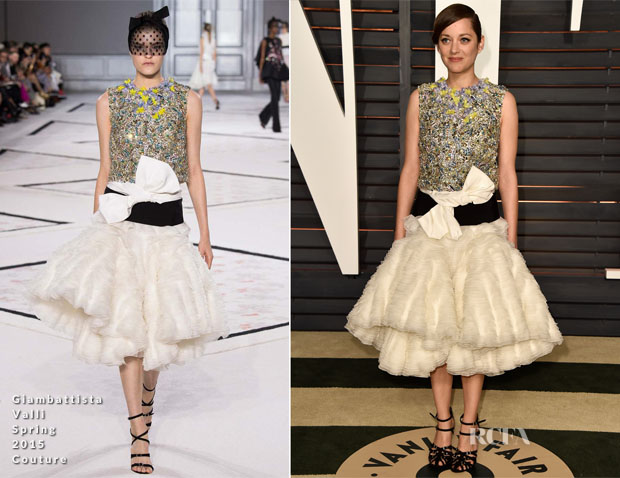 Marion Cotillard In Giambattista Valli Couture - 2015 Vanity Fair Party