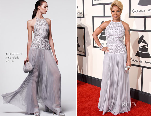 Mary J Blige In J Mendel - 2015 Grammy Awards