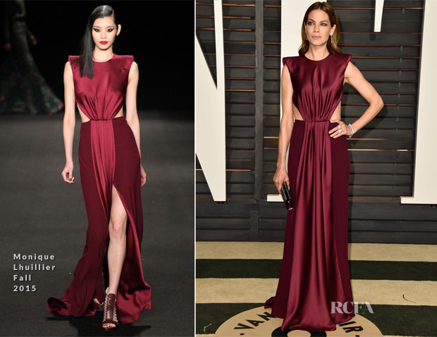Michelle Monaghan In Monique Lhuillier - 2015 Vanity Fair Oscar Party