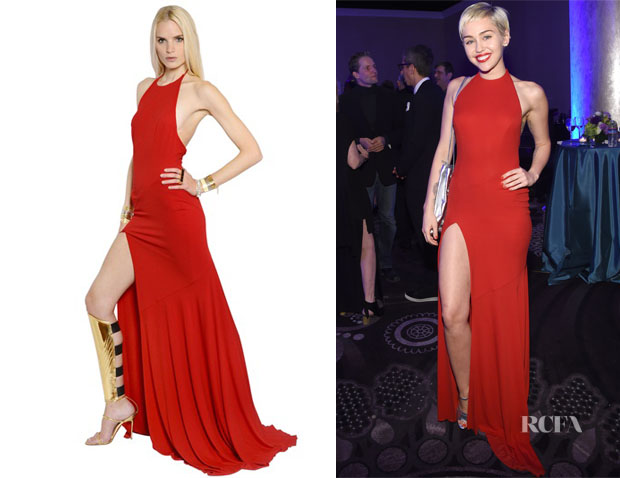 Miley Cyrus' Alexandre Vauthier Red Open Back Dress