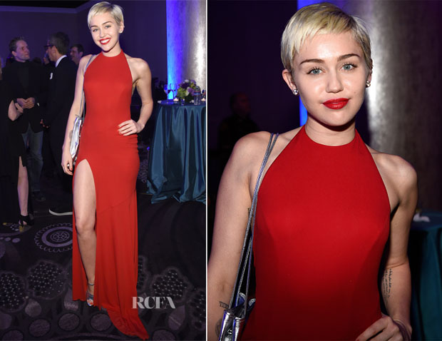Miley Cyrus In Alexandre Vauthier - Pre-GRAMMY Gala And Salute Honouring Martin Bandier