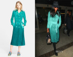 Naomi Campbell's Burberry Prorsum Double Breasted Suede Trench Coat