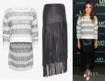 Nikki Reed's 10 Crosby Derek Lam's Hi Lo Jacquard Crew Neck Sweater & Leather Fringe Skirt