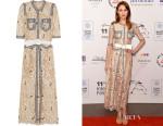 Olga Kurylenko's Alessandra Rich Passementerie-Trimmed Floral-Lace Gown