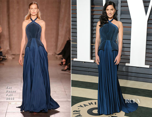 Olivia Munn In Zac Posen - 2015 Vanity Fair Oscar Party