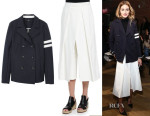 Olivia Palermo's Tibi Luxe Peacoat & Tibi Agathe Pleated Cropped Culottes