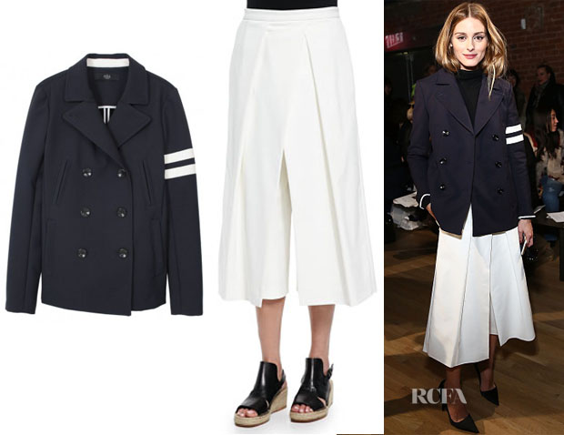 Olivia Palermo's Tibi Luxe Peacoat & Tibi Agathe Pleated Cropped Culotte Pants