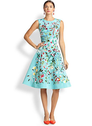Oscar de la Renta Embroidered-Floral A-Line Dress