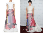 Paz Vega's Carolina Herrera Printed-Skirt Ruffled Gazar Gown