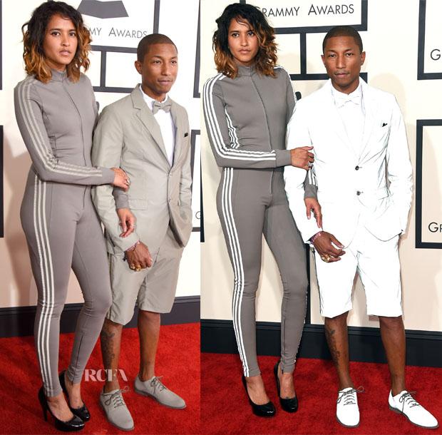 61dd2e8027d84 Pharrell Williams In Adidas   Chanel - 2015 Grammy Awards - Red ...