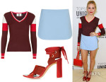 Pixie Lott's Topshop Unique Striped V-Neck Jumper, Tailored Skort & Folded Strap Sandals