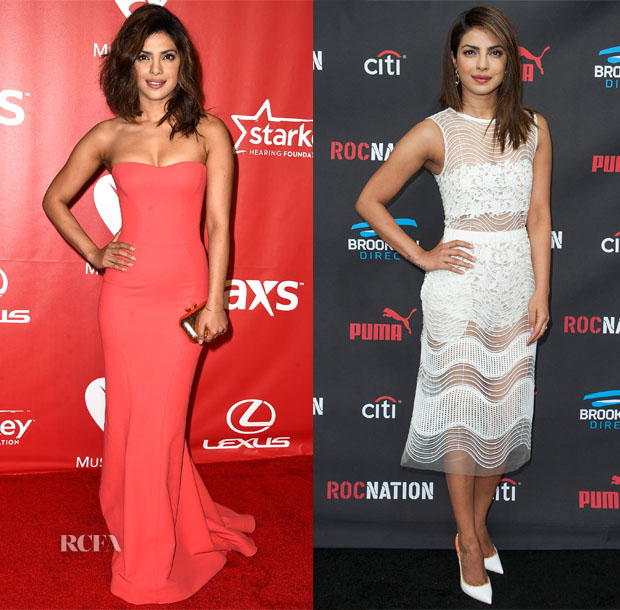 Priyanka Chopra In Zac Posen & Self-Portrait - MusiCares 2015 Person of the Year Gala & Roc Nation Grammy Brunch