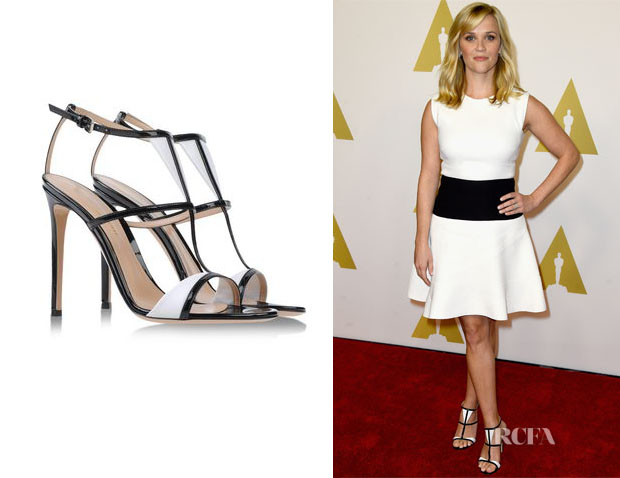 Reese Witherspoon's Gianvito Rossi Two-tone patent-leather sandals