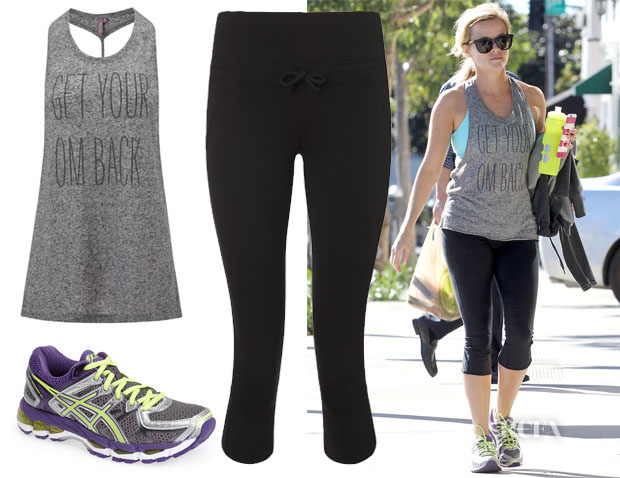 Reese Witherspoon's SSweaty Betty Om Yoga Vest, Sweaty Betty Pump It Capris & ASICS 'GEL Kayano 21' Sneakers