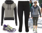 Reese Witherspoon's Sweaty Betty Escape Luxe Jumper, Sweaty Betty Pump It Capris & ASICS 'GEL Kayano 21' Sneakers