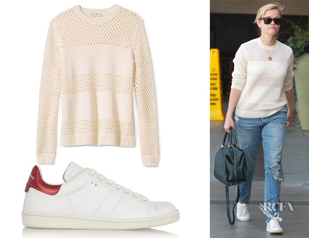 Reese Witherspoon's Tory Burch Leona Open Knit Sweater & Étoile Isabel Marant Bart Leather Sneakers