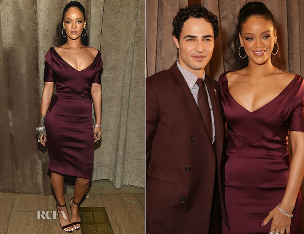 Rhianna In Zac Posen - Zac Posen Fall 2015 Front Row