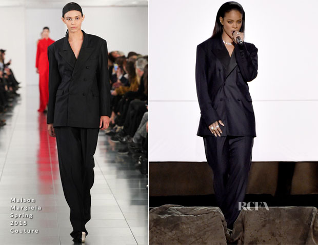 Rihanna In Maison Margiela Couture - 2015 Grammy Awards Performance