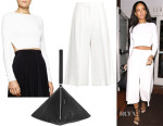 Rihanna's Stella McCartney Open Back Crop Sweater, Stella McCartney Oliver Culottes & Givenchy Triangle Large Clutch