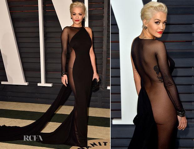 Rita Ora In Donna Karan Atelier - 2015 Vanity Fair Oscar Party