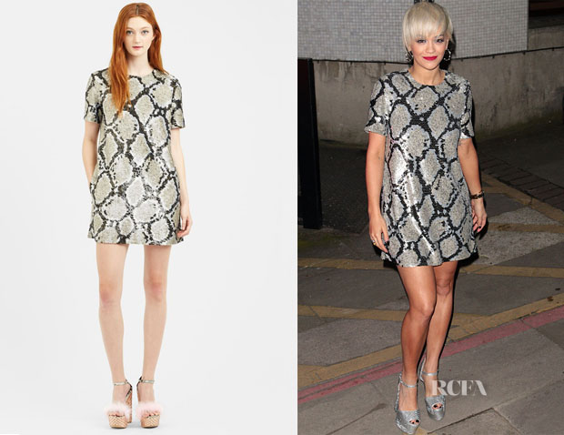 Rita Ora's Ashish Python Sequin Shift Dress