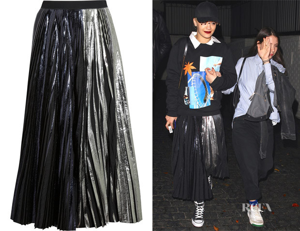 Rita Ora's Proenza Schouler Pleated metallic coated cloqué maxi skirt