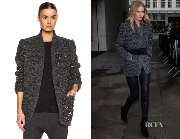 Rosie Huntington-Whiteley's Isabel Marant Ta Sequin Over Wool-Blend Jacket