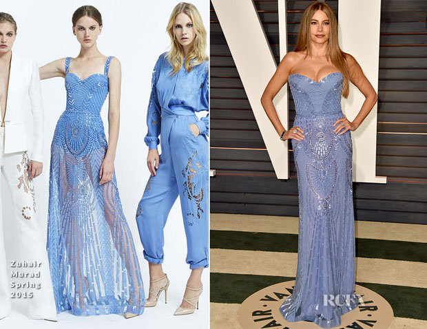 Sofia Vergara In Zuhair Murad Couture - 2015 Vanity Fair Oscar Party