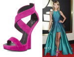 Taylor Swift's Giuseppe Zanotti  Suede Wedge Sandals