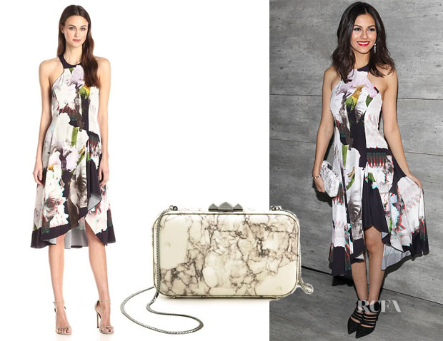Victoria Justice's Rebecca Minkoff Lindley 3D Floral Ruffled Silk Dress & Rebecca Minkoff Vincent Minaudiere