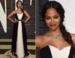 Zoe Saldana In Prabal Gurung - 2015 Vanity Fair Oscar Party
