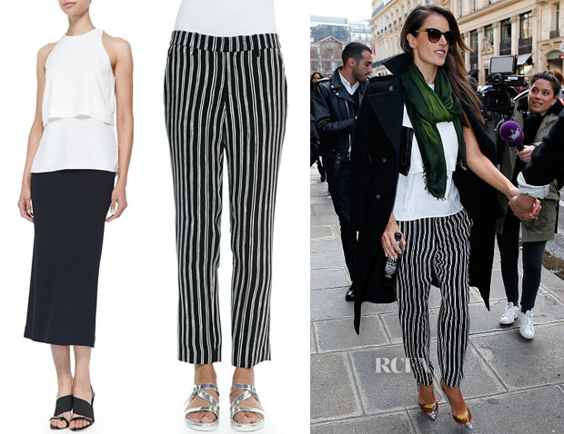 Alessandra Ambrosio's ALC Mike Tiered Sleeveless Top & ALC Levin Striped Ankle Pants